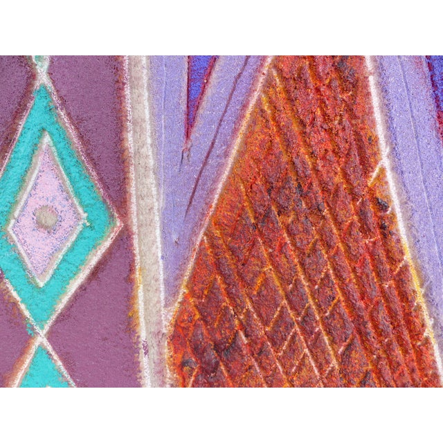 """Canvas """"Primitive Geometric Spear"""" Mixed Media Painting For Sale - Image 7 of 13"""