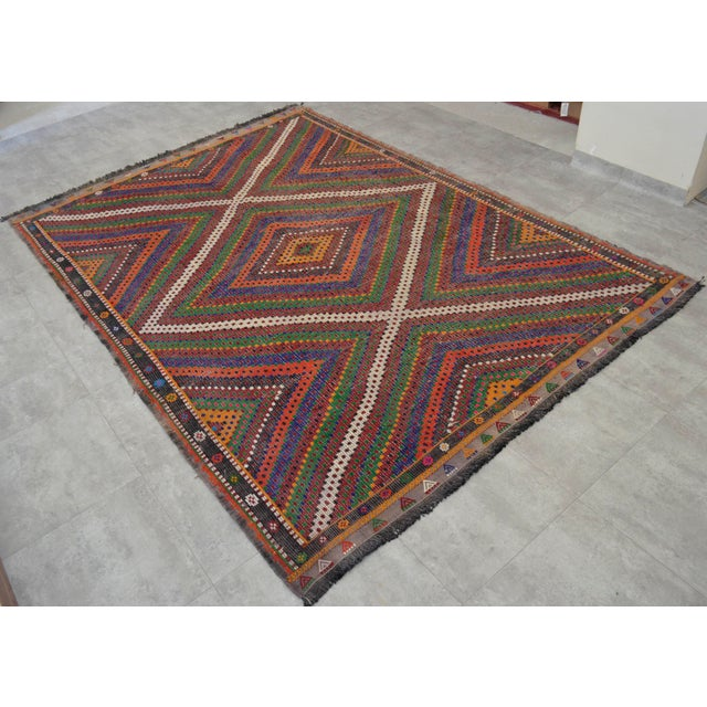 "Hand Woven Turkish Kilim Area Rug - 6'9"" X 9'6"" - Image 4 of 9"
