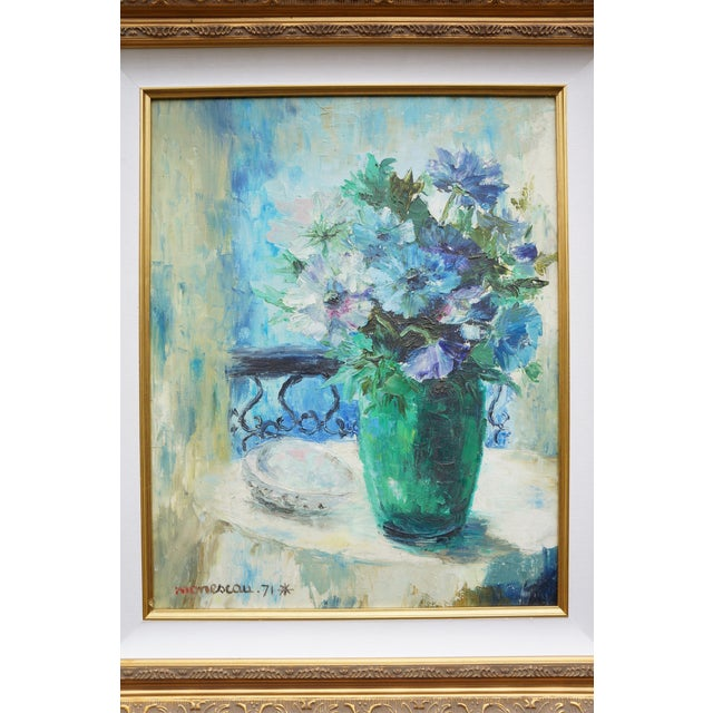 Vintage Floral Signed Still Life Oil Painting For Sale - Image 6 of 12