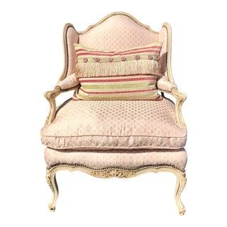 Unusual Antique Louis XV Marquis Chair W Pink Scalamandre Silk