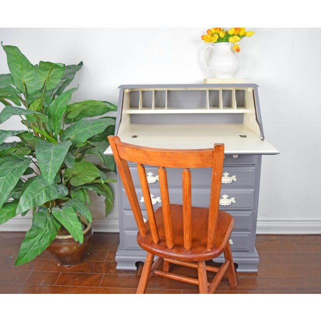 Traditional Gray and Off White Secretary Desk For Sale In San Francisco - Image 6 of 8