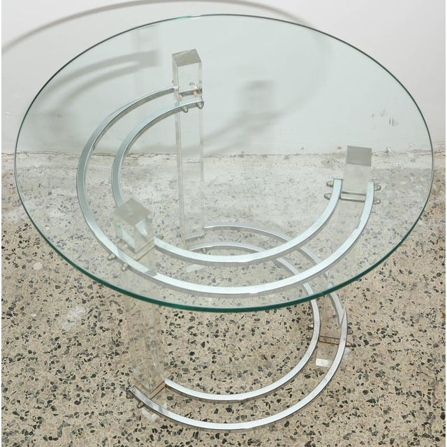 Contemporary Pair of Round Chrome and Glass Charles Hollis Jones End Tables, USA, 1970s For Sale - Image 3 of 6
