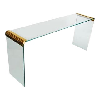 Leon Rosen for Pace Brass & Glass Console Table For Sale