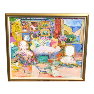 """1990s """"Interior With Dog"""" Oil Painting by Eva Hannah, Framed For Sale"""