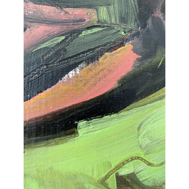 Vintage Postmodern Abstract Sgraffito Oil Painting For Sale - Image 4 of 13