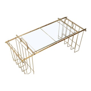 Hollywood Regency Brass Bamboo & Glass Bed Tray For Sale