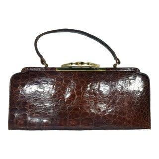 Vintage Alligator Bag With Brass Details For Sale
