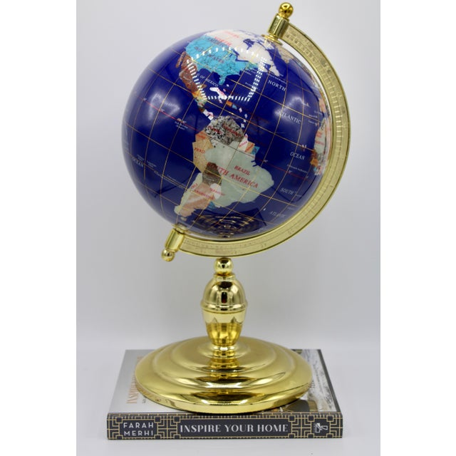Vintage Blue Lapis World Globe on Brass Stand With Semiprecious Gems For Sale - Image 12 of 13