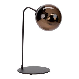 Roll & Hill Oil Rubbed Bronze With Smoke Glass Shade Table Lamp For Sale