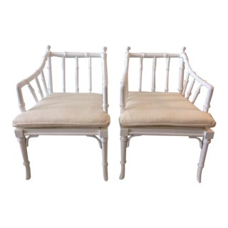 1970s Vintage White Hollywood Regency Faux Bamboo Chairs- a Pair For Sale