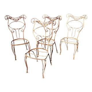 1920s French Wrought Iron Garden Chairs - Set of 4 For Sale