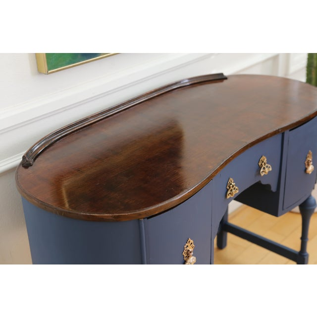 Circa 1930 Louis XV Style Petite Kidney Shaped Desk For Sale - Image 5 of 11