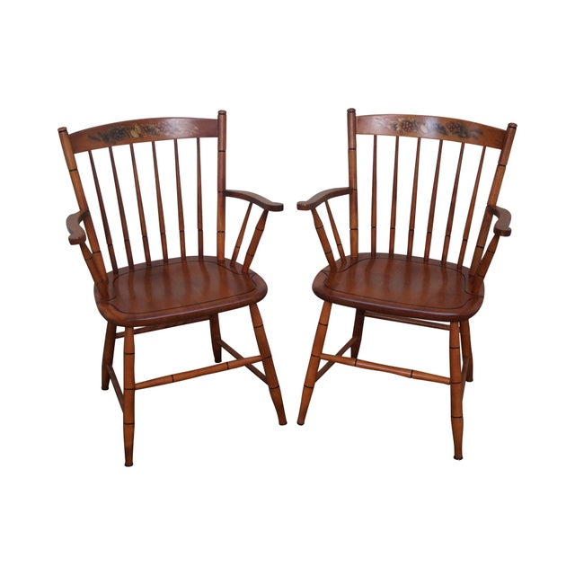 Hitchcock Solid Maple Stenciled Arm Chairs - A Pair - Image 1 of 10