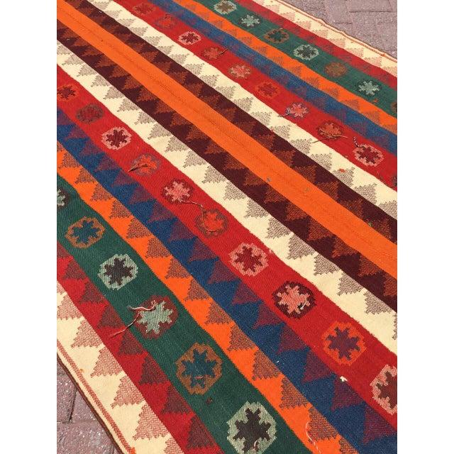 Colorful Vintage Kilim Rug For Sale - Image 4 of 10