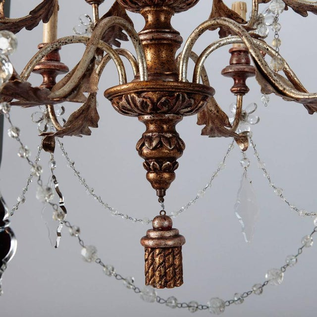19th Century French Twelve Light Gild Wood and Crystal Chandelier For Sale In Detroit - Image 6 of 8