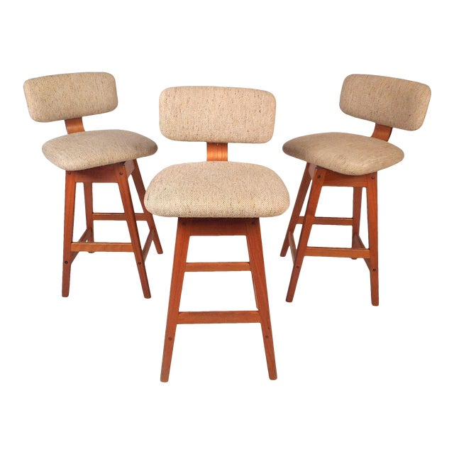 Danish Modern Upholstered Swivel Stools by Vampdrup Stolefabrik, Set of 3 For Sale