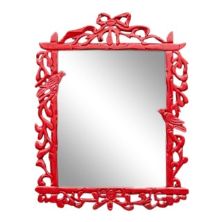 1990s Carved Wood Red Mirror For Sale