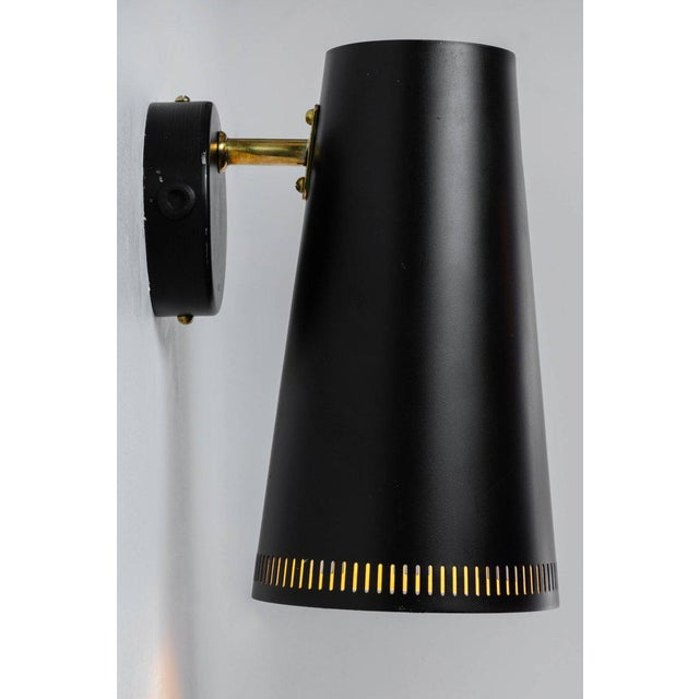 1950s Large Paavo Tynell Black Wall Lights for Taito Oy - a Pair For Sale - Image 5 of 11