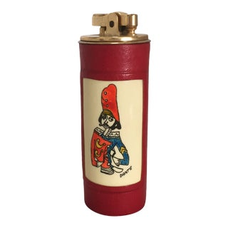 Mid-Century Italian Leather and Brass Table Lighter For Sale