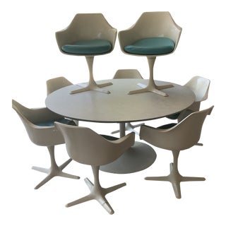Mid-Century Burke Table & Tulip Chairs Dining Set For Sale