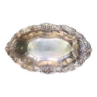 1980s Art Nouveau St. Saint Regis by Wallace Silver Plate Oval Bowl For Sale