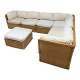 Image of Seven Piece Wicker Sectional Sofa in the Manner of Michael Taylor For Sale