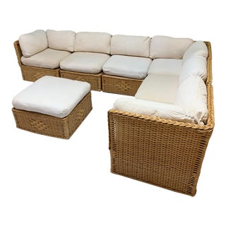 Seven Piece Wicker Sectional Sofa in the Manner of Michael Taylor For Sale