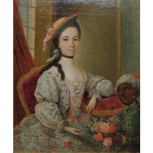 """Portraiture 18th Century """"Aristocratic Lady & Her Black Slave"""" Oil Painting by Friedrich Ludwig Hauck For Sale - Image 3 of 10"""