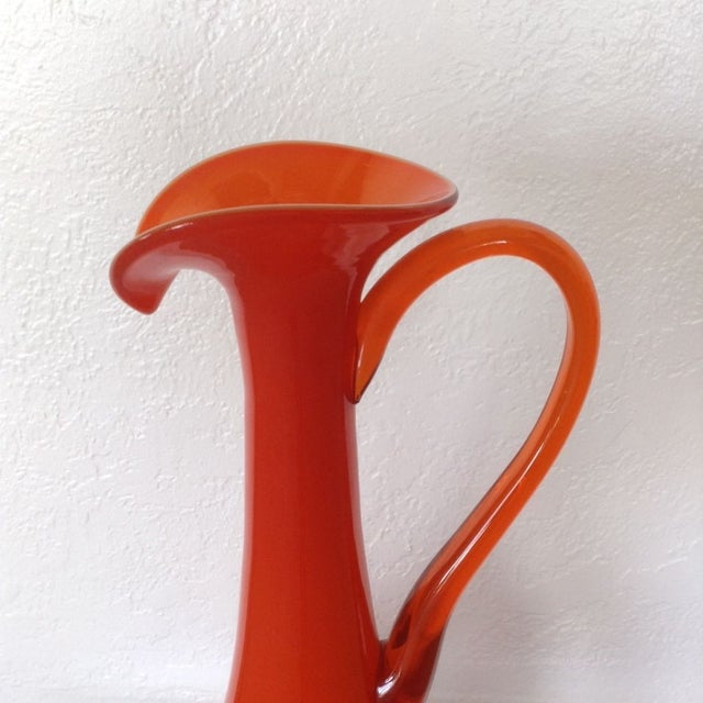 Tall Tangerine Teardrop Glass Ewer - Image 4 of 5