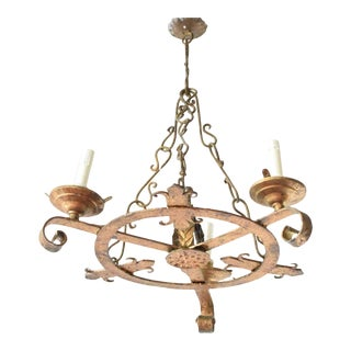 Small Gilded Ring Chandelier For Sale