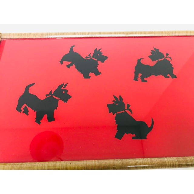 Mid-Century Modern Vintage Mid-Century Modern Black & Red Scottish Terrier Glass & Wood Tray For Sale - Image 3 of 8