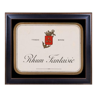 Lithograph of Antique Rum Label From the French West Indies: Rhum Fantaisie For Sale