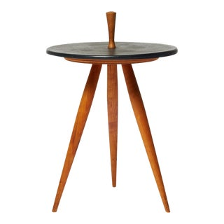 Side Table by Phillip Lloyd Powell in Walnut and Stone For Sale