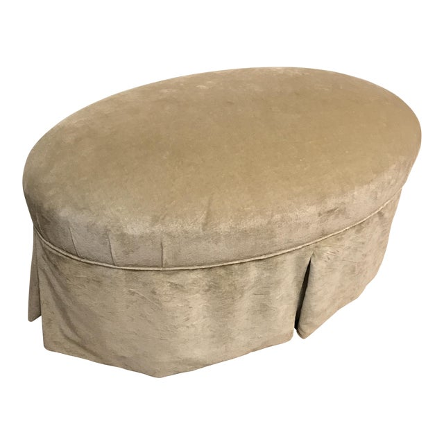 Contemporary Oval Upholstered Ottoman - Image 1 of 8