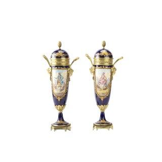 19th Century Sevres Cobalt Blue Lidded Urns -A Pair