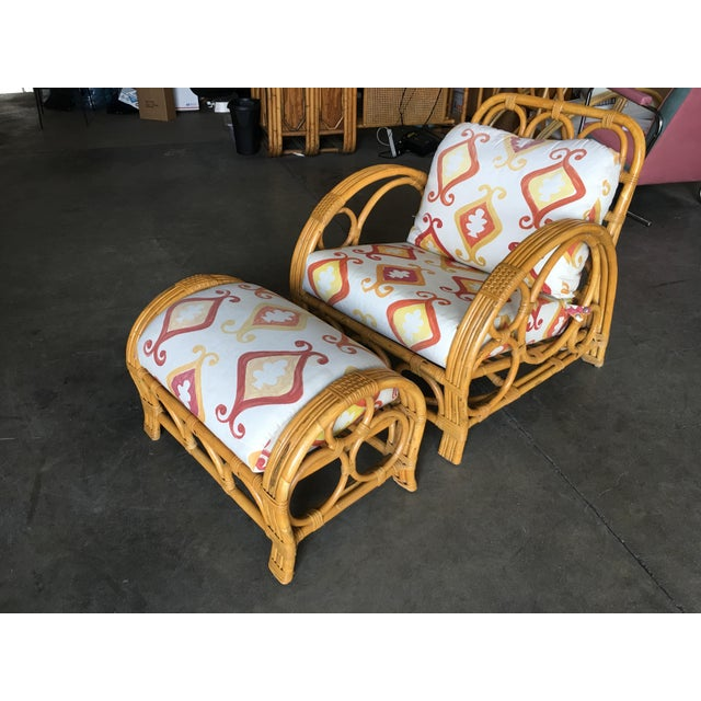 "Restored Three Strand ""Circles and Speed"" Rattan Lounge Chair With Ottoman For Sale - Image 9 of 9"