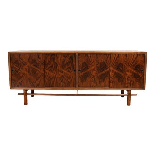 Low Mid Century Rosewood & Walnut Media Sideboard For Sale