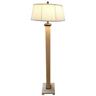 Stylish Tessellated Bone Floor Lamp With Enameled Metal Base For Sale