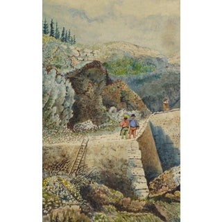 Antique French Watercolor - the Overlook For Sale