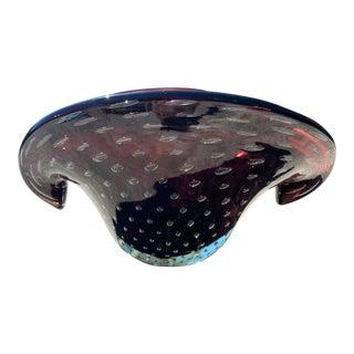 Archimede Seguso Style Purple Murano Glass Bullicante Clam Shell Bowl With Controlled Bubbles For Sale