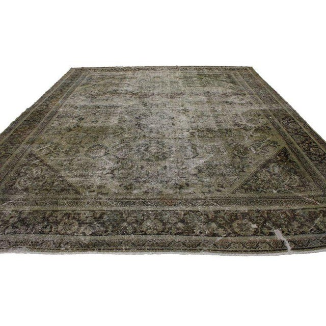 Textile Distressed Antique Persian Mahal Rug With Modern Industrial Style, 10'06 X 13'07 For Sale - Image 7 of 8