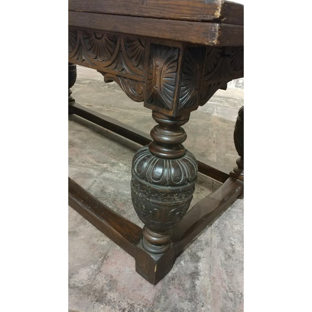 Jacobean 18th Century English Oak Jacobean Style Draw Leaf Refectory Table Size For Sale - Image 3 of 10