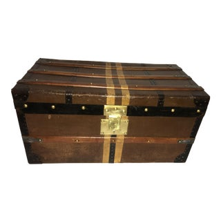 1900s Antique English Wood Canvas Iron Trunk For Sale