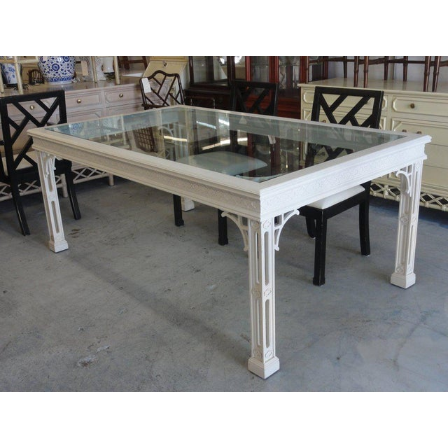 Late 20th Century Palm Beach Fretwork Dining Table For Sale - Image 5 of 12