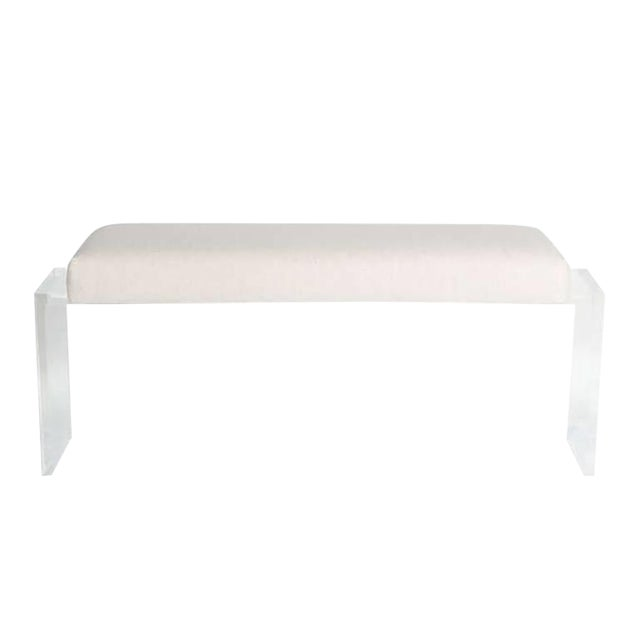 Customizable Moller Lucite Upholstered Bench For Sale