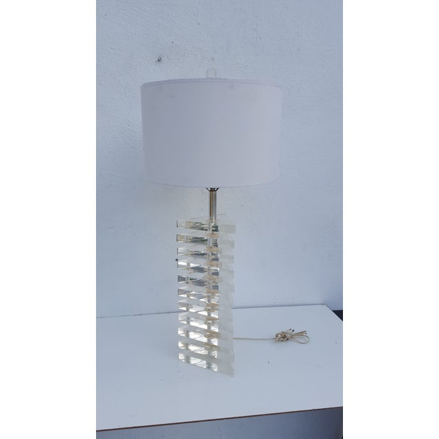 Mid-Century Modern George Bullio Triangular Stacked Lucite Table Lamp For Sale - Image 3 of 8