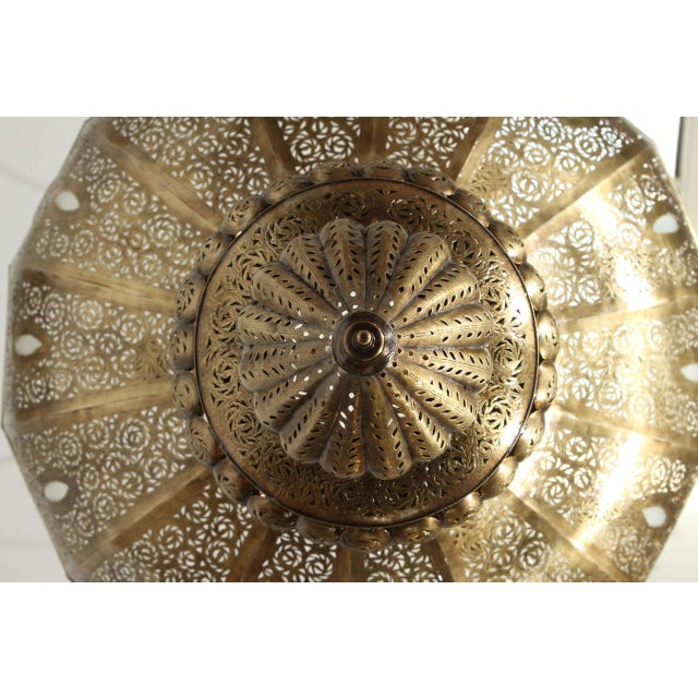 Large Brass Moroccan Chandelier For Sale - Image 9 of 12