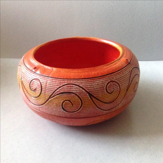 Vintage Orange Ceramic Hanging Planter - Image 9 of 9