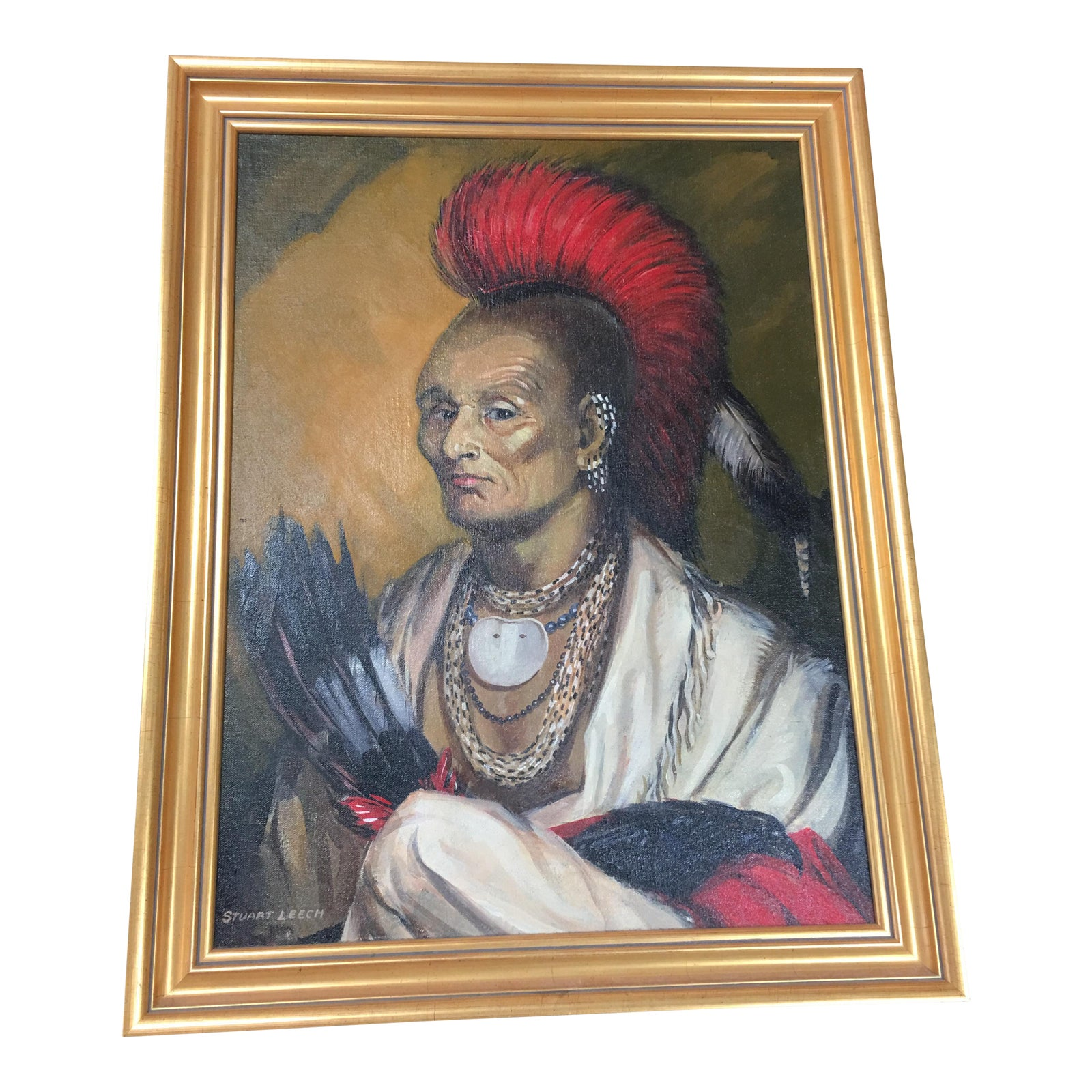 Quot Native Chief Quot Signed Stuart Leech Oil Painting On Board