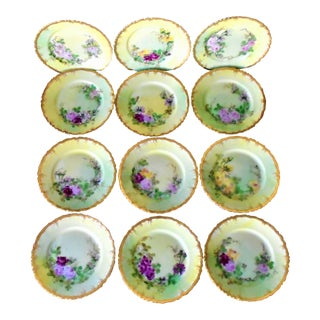 Antique Hand Painted Dessert Plates - Set of 12 For Sale